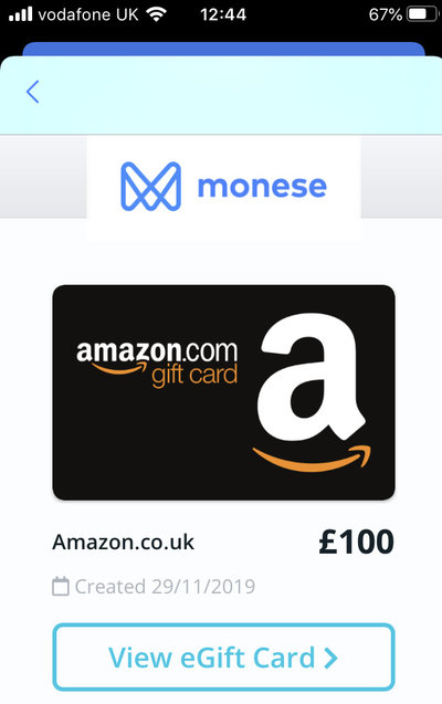 Monese gift card promotion