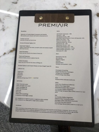 PremiAir VIP terminal Manchester Airport food