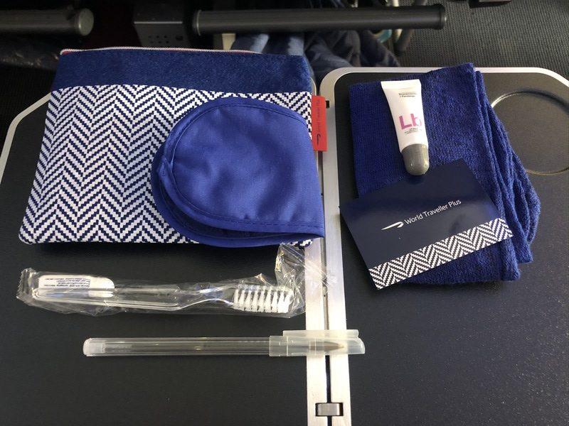 British Airways World Traveller Plus review A380 amenity kit