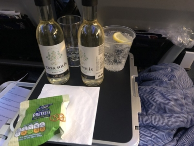 British Airways World Traveller Plus A380 drink