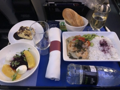 British Airways World Traveller Plus review A380 meal