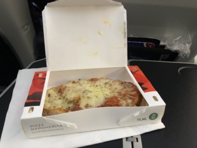 British Airways World Traveller Plus A380 pizza