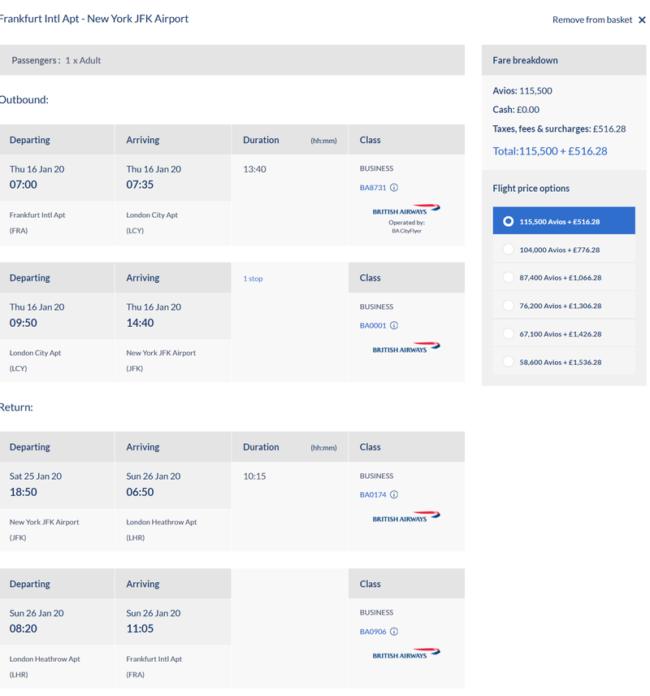 Avios pricing chart