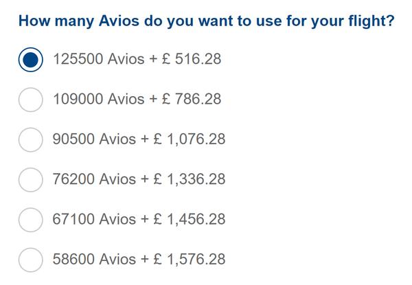 Avios pricing