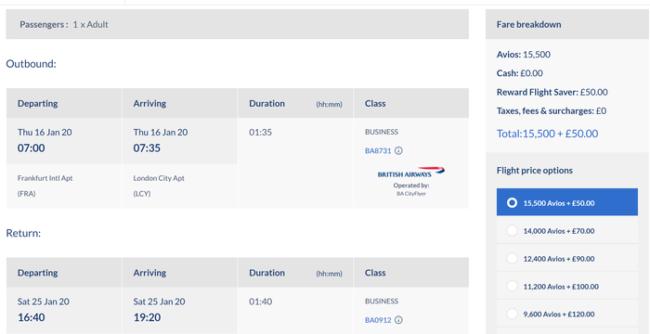 Avios pricing 3