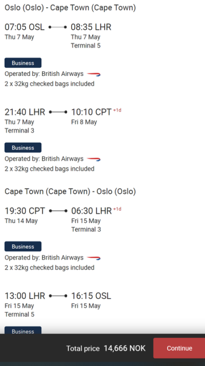 BA Oslo Cape Town deal