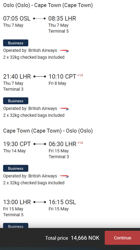 BA Oslo Cape Town deal