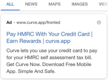 Curve ad for paying HMRC
