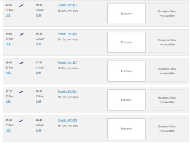 Finnair Avios availability