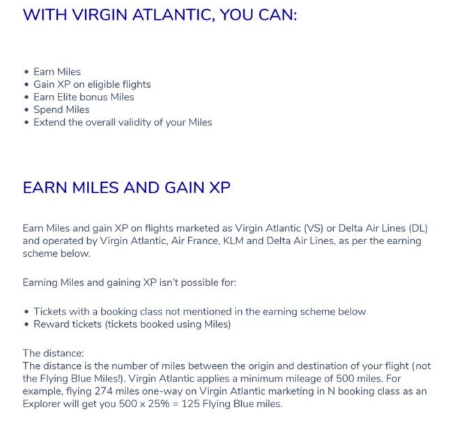 Flying Blue earning on Virgin Atlantic