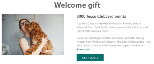 Get 3000 Tesco Clubcard points with pet insurance