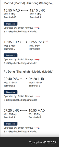 British Airways Shanghai deal