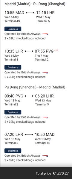 British Airways Shanghai deal