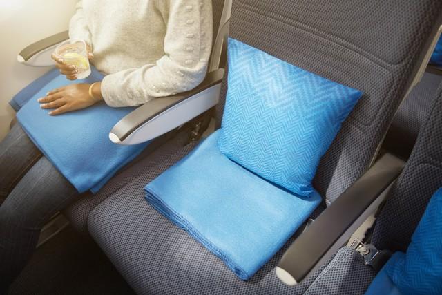 British Airways new conomy cushion blanket