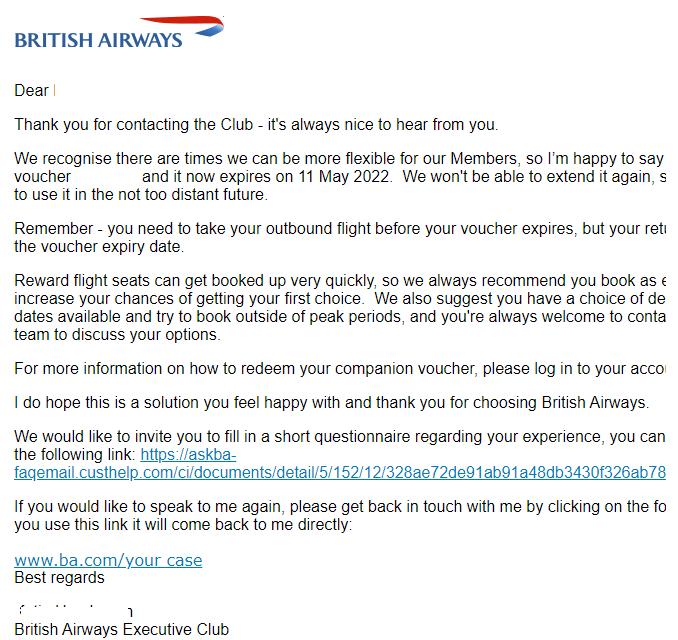 Will British Airways extend your American Express 241 voucher?