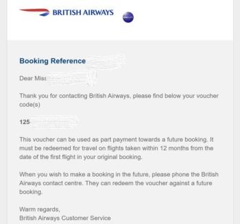British Airways coronavirus voucher