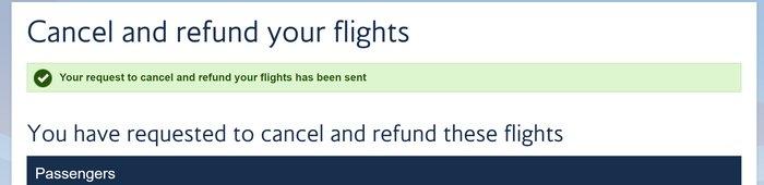 British Airways cancellation