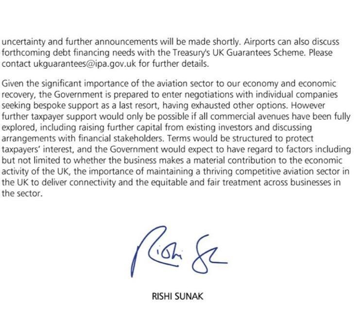 Government letter to aviation sector