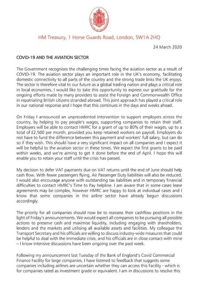 Rishi Sunak letter to aviation sector