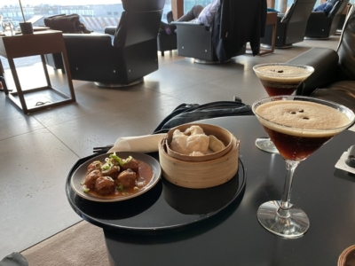 Cathay Pacific lounge Heathrow dimsum