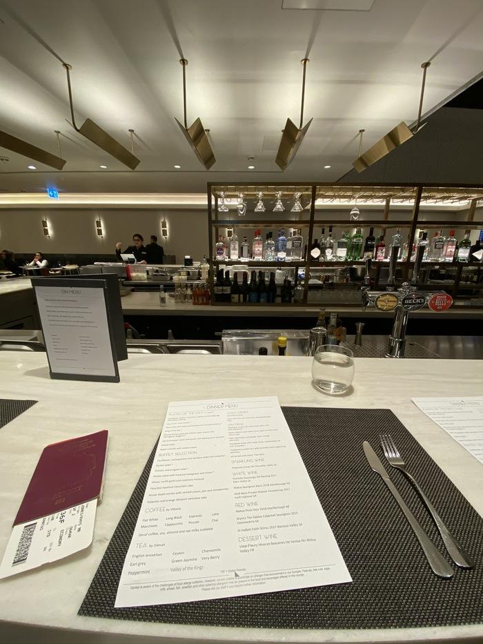 Qantas Lounge Heathrow dining
