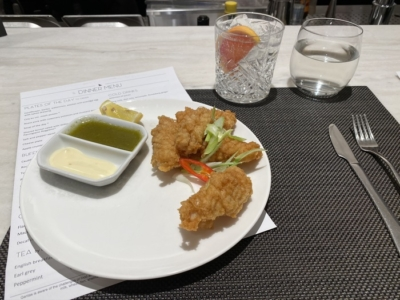 Qantas Lounge Heathrow dining salt & pepper squid