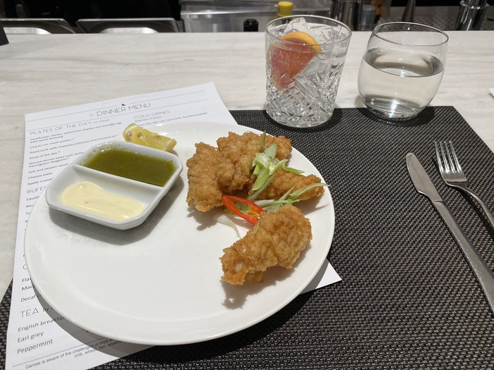 Qantas Lounge Heathrow dining salt & pepper squid