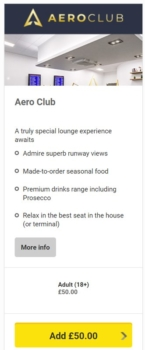 Aero Club lounge at Leeds Bradford