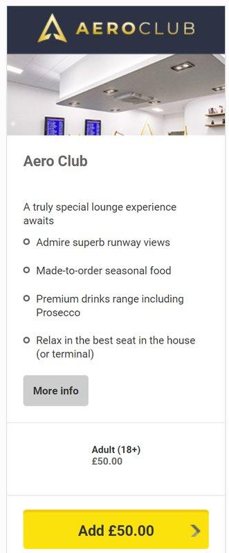 Aero Club lounge at Leeds Bradford