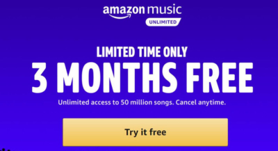 Amazon Music 3-month free trial!