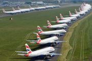 British Airways BA parked aircraft