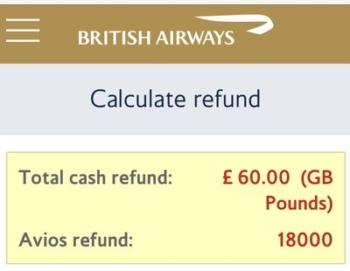 how to get an online British Airways refund for an Avios ticket