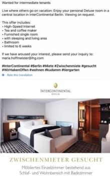 Rent a room at InterContinental Berlin