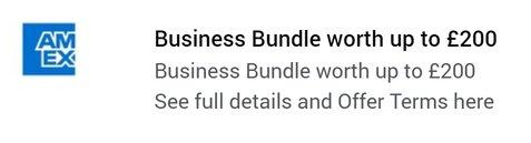 American Express Platinum Business £200 offer