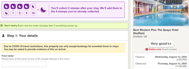 Hotels.com double stamps per night promotion