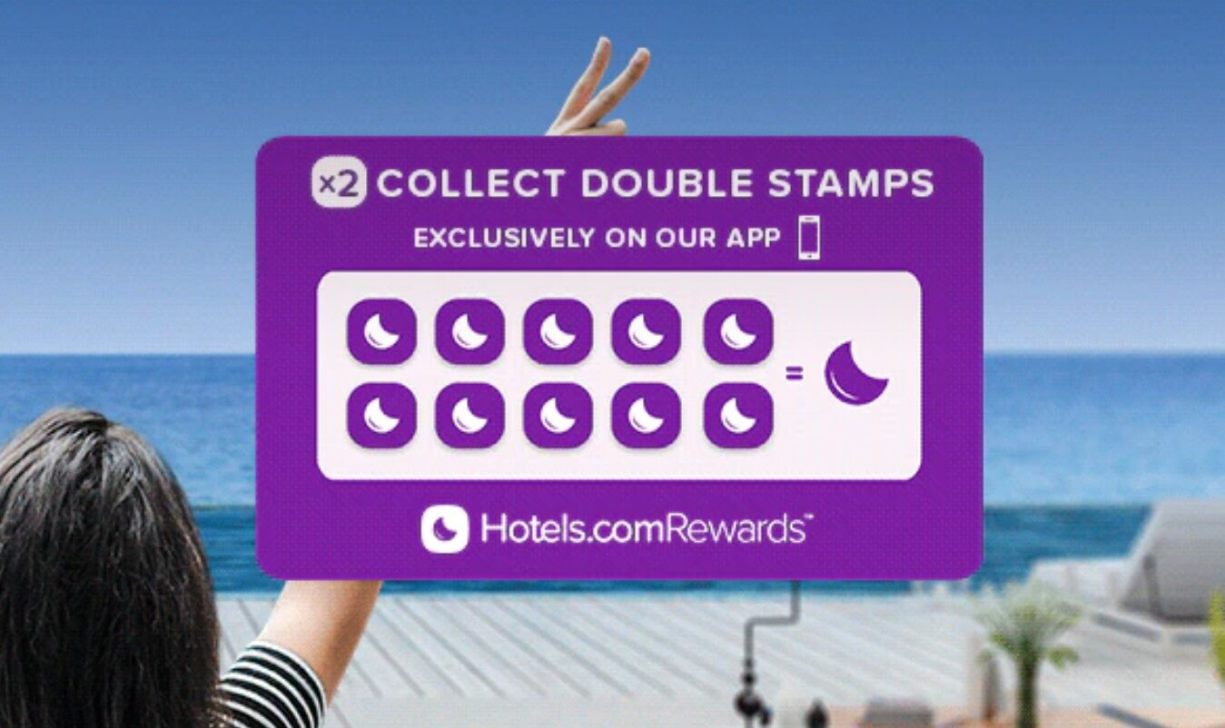 Hotels.com double free night credits stamps app offer