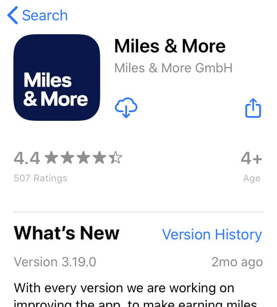 500 miles for downloading Miles & More app