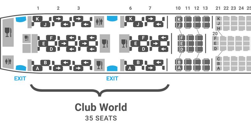 British Airways 787-8 seat map Club World