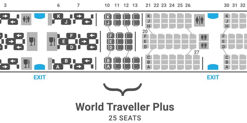 British Airways 787-8 seat map World Traveller Plus