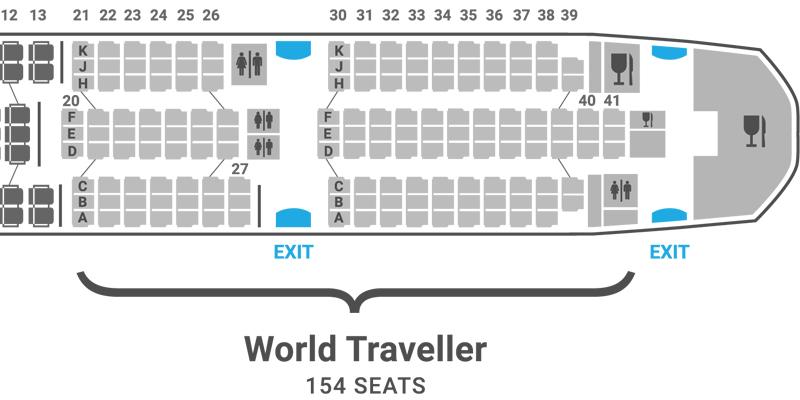 British Airways 787-8 seat map World Traveller Economy