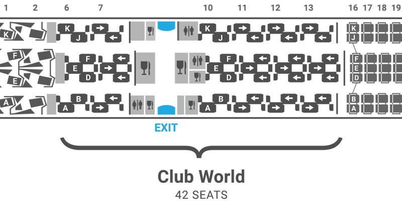 British Airways 787-9 seat map Club World