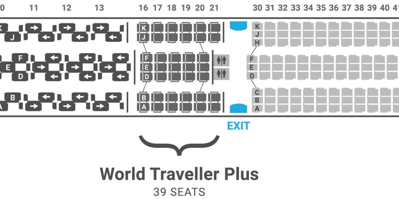 British Airways 787-9 seat map World Traveller Plus