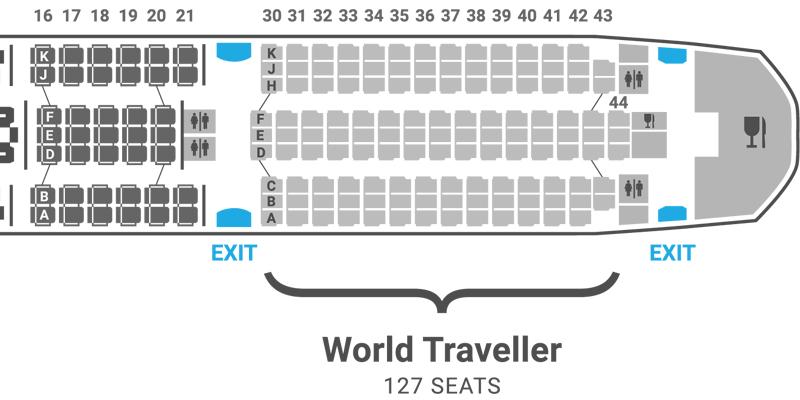 British Airways 787-9 seat map World Traveller