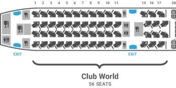 British Airways A350 seat plan Club Suite