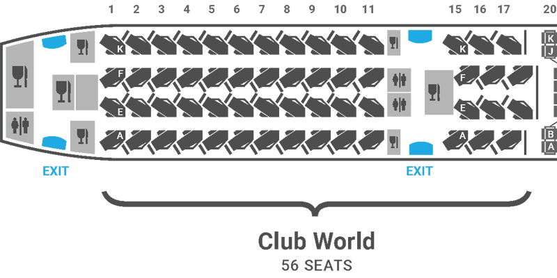 British Airways A350 seat plan Club Suite