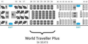 British Airways A350 seat map World Traveller Plus