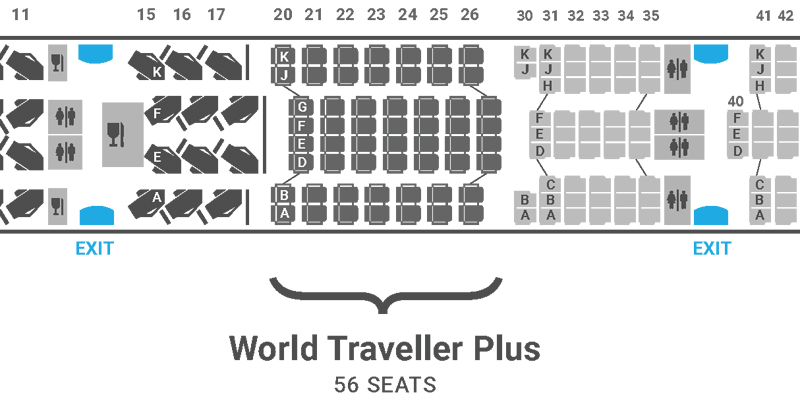British Airways A350 seat map World Traveller Plus