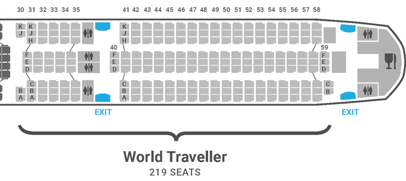British Airways A350 seat plan World Traveller