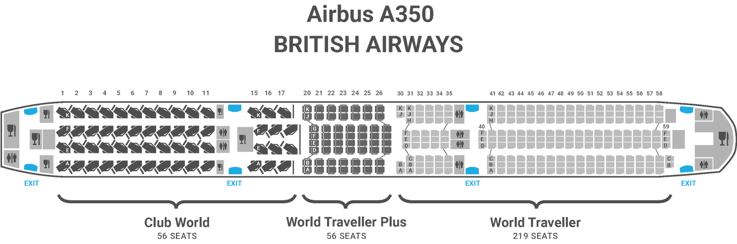 British Airways A350 seat map