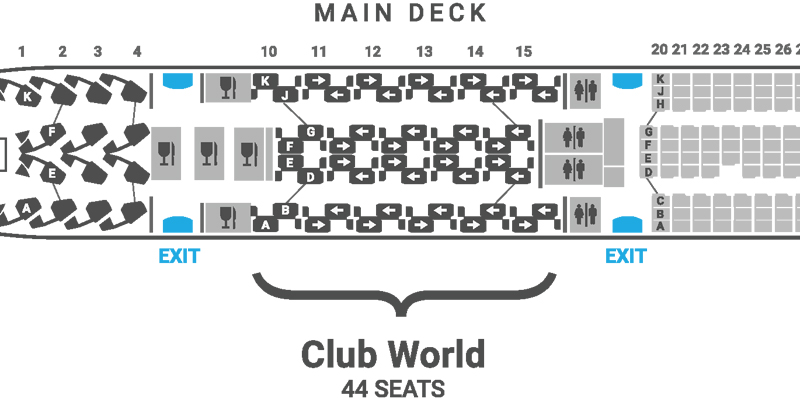 British Airways A380 seat map Club World main deck